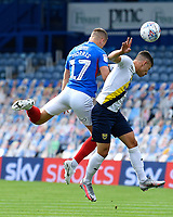 Bryn Morris of Portsmouth wins a header during Portsmouth vs Oxford United, Sky Bet EFL League 1 Play-Off Semi-Final Football at Fratton Park on 3rd July 2020