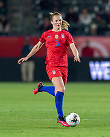 CARSON, CA - FEBRUARY 7: Sam Mewis #3 of the United States dribbles during a game between Mexico and USWNT at Dignity Health Sports Park on February 7, 2020 in Carson, California.