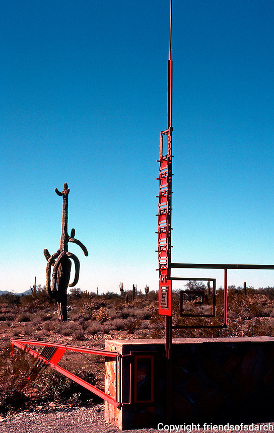 F.L. Wright: Taliesen West. Gate (approx. 1/2 mile from house.  Photo '77.