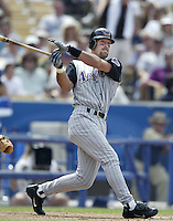 Luis Gonzalez of the Arizona Diamondbacks bats during a 2002 MLB season game against the Los Angeles Dodgers at Dodger Stadium, in Los Angeles, California. (Larry Goren/Four Seam Images)