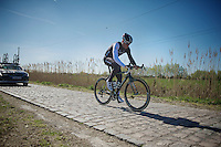 Stijn Devolder (BEL/Trek Factory Racing) did the recon, but still isn't sure at that point whether he would participate in the actual race after 2 major crashes in the Tour of Flanders the week before.<br /> <br /> 2014 Paris - Roubaix reconnaissance