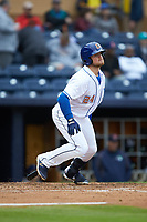 Christian Arroyo (24) of the Durham Bulls follows through on his swing against the Gwinnett Braves at Durham Bulls Athletic Park on April 20, 2019 in Durham, North Carolina. The Bulls defeated the Braves 11-3 in game one of a double-header. (Brian Westerholt/Four Seam Images)
