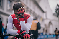 a disappointed Tyler Cole (Trinidad&Tobego)<br /> <br /> MEN UNDER 23 INDIVIDUAL TIME TRIAL<br /> Hall-Wattens to Innsbruck: 27.8 km<br /> <br /> UCI 2018 Road World Championships<br /> Innsbruck - Tirol / Austria