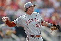 Texas Longhorns first baseman Kacy Clemens (42) in action during the NCAA baseball game against the Houston Cougars on June 6, 2014 at UFCU Disch–Falk Field in Austin, Texas. The Longhorns defeated the Cougars 4-2 in Game 1 of the NCAA Super Regional. (Andrew Woolley/Four Seam Images)