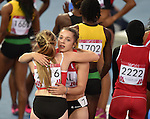 Wales' Hannah Brier, left, and Wales Rachel Johncock after the 4x100m relay round 1 - heat 2<br /> <br /> Photographer Chris Vaughan/Sportingwales<br /> <br /> 20th Commonwealth Games - Day 9 - Friday 1st August 2014 - Athletics - Hampden Park - Glasgow - UK