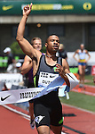 Johnny Dutch of the USA crosses the finish line to win the Men's 400 meter hurdles on the final day of the Prefontaine Classic at Hayward Field in Eugene, Oregon, USA, 30 MAY 2015. (EPA photo by Steve Dykes)