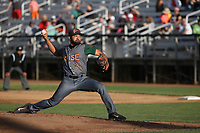 Rico Garcia (21) of the Boise Hawks pitches against the Everett AquaSox at Everett Memorial Stadium on July 20, 2017 in Everett, Washington. Everett defeated Boise, 13-11. (Larry Goren/Four Seam Images)