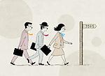 "Illustrative image of candidates walking towards ""jobs"" sign representing recruitment"