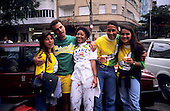 Rio de Janeiro, Brazil. Football supporters celebrating Brazil football team victory.