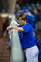 AZL Cubs Kwang-Min Kwon (27) hangs out in the dugout during the game against the AZL Diamondbacks on August 11, 2017 at Sloan Park in Mesa, Arizona. AZL Cubs defeated the AZL Diamondbacks 7-3. (Zachary Lucy/Four Seam Images)