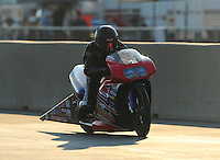 Jul, 9, 2011; Joliet, IL, USA: NHRA pro stock motorcycle rider Justin Finley during qualifying for the Route 66 Nationals at Route 66 Raceway. Mandatory Credit: Mark J. Rebilas-