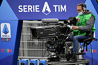 A cameraman at work in front of the Serie A setup during the Serie A football match between AC Milan and SSC Napoli at San Siro Stadium in Milano  (Italy), March 14th, 2021. Photo Andrea Staccioli / Insidefoto