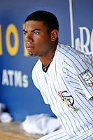 Staten Island Yankees infielder Angelo Gumbs #21 during a game against the Tri-City  Valley Cats at Richmond County Bank Ballpark at St. George on July 25, 2011 in Staten Island, NY.  Staten Island defeated Tri-City 2-1.  Tomasso DeRosa/Four Seam Images