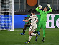 Football: Europa League - quarter final 2nd leg AS Roma vs Ajax, Olympic Stadium. Rome, Italy, March 15, 2021.<br /> Ajax's Bryan Brobbey (L) scores in spite of Roma's goalkeeper Pau Lopez (R) and Bryan Cristante (C) during the Europa League football match between Roma at Rome's Olympic stadium, Rome, on April 15, 2021.  <br /> UPDATE IMAGES PRESS/Isabella Bonotto