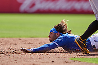 Toronto Blue Jays Austin Martin (80) slides safely into second on a stolen base during a Major League Spring Training game against the Pittsburgh Pirates on March 1, 2021 at the TD Ballpark in Dunedin, Florida.  (Mike Janes/Four Seam Images)