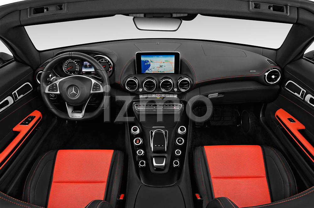 Stock photo of straight dashboard view of a 2018 Mercedes Benz AMG GT AMG GT 2 Door Roadster