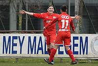 20180127 - AALTER , BELGIUM : Standard's Noemie Gelders (left)  pictured celebrating her goal with teammate Lola Wajnblum (right)  during the quarter final of Belgian cup 2018 , a womensoccer game between Club Brugge Dames and Standard Femina de Liege , in Aalter , saturday 27 th January 2018 . PHOTO SPORTPIX.BE | DAVID CATRY