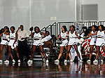 Alabama A&M Bulldogs cheerleaders in action during the SWAC Tournament game between the Alabama State Hornets and the  Alabama A&M Bulldogs at the Special Events Center in Garland, Texas. Alabama State Hornets defeat Alabama A&M Bulldogs 81 to 61
