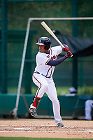 GCL Braves left fielder Charles Reyes (11) at bat during the second game of a doubleheader against the GCL Yankees West on July 30, 2018 at Champion Stadium in Kissimmee, Florida.  GCL Braves defeated GCL Yankees West 5-4.  (Mike Janes/Four Seam Images)