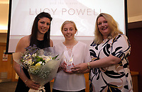 Pictured L-R: Nia Davies presents Lucy Powell with the Girls Player of the Year award Saturday 27 May 2017<br />