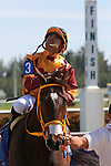 HALLANDALE BEACH, FL - JANUARY 28:  #3 Curlin's Approval with jockey Luis Saez on board gives thanks before heading into the winners' circle of the Hurricane Bertie G3 Stakes on Pegasus World Cup Invitational Day at Gulfstream Park on January 28, 2017 in Hallandale Beach, Florida. (Photo by Liz Lamont/Eclipse Sportswire/Getty Images)
