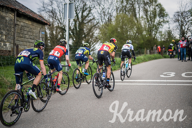 an elite lead group with Philippe Gilbert (BEL/Quick Step floors) up the very steep (up to 22%) Keutenberg<br /> <br /> 52nd Amstel Gold Race (1.UWT)<br /> 1 Day Race: Maastricht › Berg en Terblijt (264km)