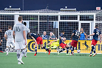 FOXBOROUGH, MA - JULY 25: CF Montreal goal scored by Djordje Mihailovic #8 of CF Montreal during a game between CF Montreal and New England Revolution at Gillette Stadium on July 25, 2021 in Foxborough, Massachusetts.