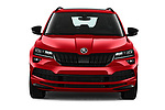 Car photography straight front view of a 2020 Skoda Karoq Sport-Line 5 Door SUV Front View
