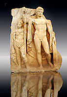 Photo of Roman releif sculpture of Emperor Tiberius with captive About to vanquish Britanica from Aphrodisias, Turkey, Images of Roman art bas releifs. Buy as stock or photo art prints.  Emperor Tiberius stands with a barbarian captive depicted half the height of Tiberius.  art