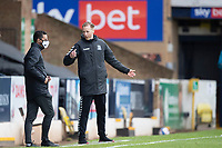 Mark Molesley, Manager, Southend United expresses a view to the fourth official during Southend United vs Exeter City, Sky Bet EFL League 2 Football at Roots Hall on 10th October 2020