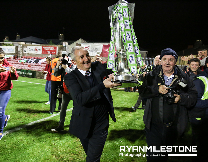 2017 SSE Airtricity League Premier Division,<br /> Cork City vs Bray Wanderers,<br /> Friday 27th October 2017,<br /> Turners Cross, Cork.<br /> Cork City manager John Caulfield with the league trophy.<br /> Photo By: Michael P Ryan