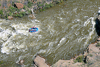 River rafter ride the rapids of Arkansas River near Salida Colorado