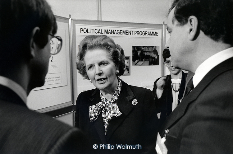 Prime Minister Margaret Thatcher speaks to private contractors exhibiting at a Conservative Local Goverment Conference, London.