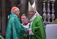 Cardinal Lorenzo Baldisseri,Pope Francis celebrates a closing mass at the end of the Synod of Bishops at the Saint Peter's Basilica in Vatican on October 28, 2018