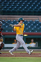 AZL Athletics third baseman Jake Lumley (31) follows through on his swing against the AZL Giants on August 5, 2017 at Scottsdale Stadium in Scottsdale, Arizona. AZL Athletics defeated the AZL Giants 2-1. (Zachary Lucy/Four Seam Images)