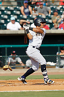 """Charleston Riverdogs infielder Wilkerman Garcia (3) at bat during a game against the Hickory Crawdads at the Joseph P. Riley Ballpark in Charleston, South Carolina. For Sunday games, the Riverdogs wear their """"Holy City"""" uniforms in honor of the city's nickname. Hickory defeated Charleston 8-7. (Robert Gurganus/Four Seam Images)"""
