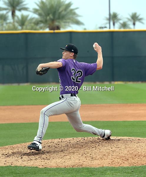 Ryan Feltner - Colorado Rockies 2020 spring training (Bill Mitchell)