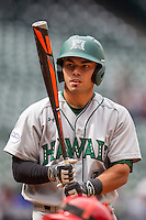 Hawaii Rainbow Warriors catcher Chayce Ka'aua (7) at the plate during the NCAA baseball game against the Nebraska Cornhuskers on March 7, 2015 at the Houston College Classic held at Minute Maid Park in Houston, Texas. Nebraska defeated Hawaii 4-3. (Andrew Woolley/Four Seam Images)