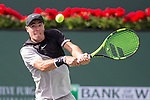 March 09, 2018: Ernesto Escobedo (USA) hits a backhand as he defeated Frances Tiafoe (USA) 7-5, 6-3 at the BNP Paribas Open played at the Indian Wells Tennis Garden in Indian Wells, California. ©Mal Taam/TennisClix/CSM