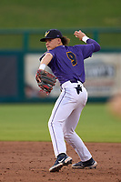 Fort Myers Mighty Mussels shortstop Keoni Cavaco (9) throws to first base during a game against the St. Lucie Mets on June 3, 2021 at Hammond Stadium in Fort Myers, Florida.  (Mike Janes/Four Seam Images)