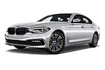 Stock pictures of low aggressive front three quarter view of a 2018 BMW 5 Series 530e iPerformance 4 Door Sedan