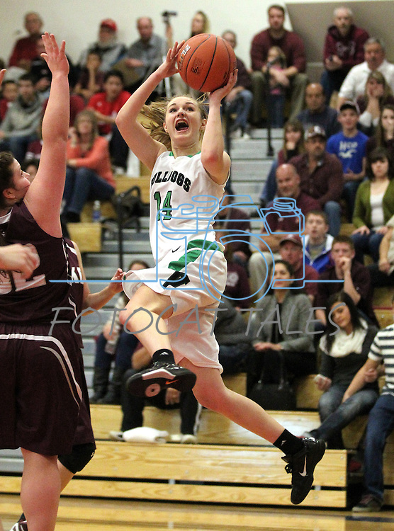 Virgin Valley's Abbie Barnard shoots in a semi-final game in the NIAA 3A State Basketball Championships between Virgin Valley and Elko high schools at Reno High School in Reno, Nev, on Friday, Feb. 24, 2012. Elko won 49-32..Photo by Cathleen Allison