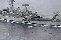 - a US Navy Seahawk helicopter flies over the English frigate Penelope during NATO exercises in the Mediterranean sea ....- un elicottero Seahawk dell'US Navy sorvola la fregata inglese Penelope durante esercitazioni NATO nel mar Mediterraneo