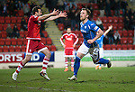 St Johnstone v Aberdeen…22.04.16  McDiarmid Park, Perth<br />Liam Craig celebrates his goal as Andy Considine shows his frustration<br />Picture by Graeme Hart.<br />Copyright Perthshire Picture Agency<br />Tel: 01738 623350  Mobile: 07990 594431