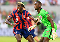 AUSTIN, TX - JULY 29: Gyasi Zardes #9 of the United States looking for a pass while in the Qatar goal during a game between Qatar and USMNT at Q2 Stadium on July 29, 2021 in Austin, Texas.