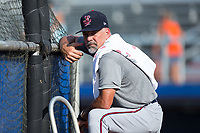 Elizabethton Twins hitting coach Jeff Reed (1) during batting practice prior to the game against the Danville Braves at American Legion Post 325 Field on July 1, 2017 in Danville, Virginia.  The Twins defeated the Braves 7-4.  (Brian Westerholt/Four Seam Images)
