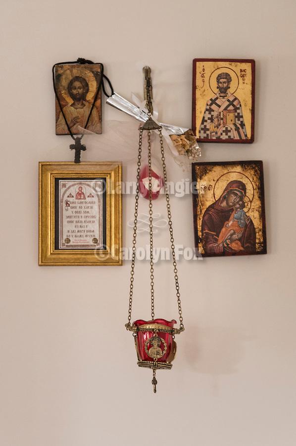 Orthodox shrine and vigil lamp, home of Giorgios and Katrina Dalsi, Trikala, Greece