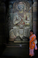 """Ajanta, a UNESCO world heritage site, is famous for its Buddhist rock-cut cave temples and monasteries with their extraordinary wall paintings. The temples are hollowed out of granite cliffs on the inner side of a 20-meter ravine in the Wagurna River valley, 105 km northeast of Aurangabad, at a site of great scenic beauty. About 30 caves were excavated between the 1st century BCE and the 7th century CE and are of two types, caityas (""""sanctuaries"""") and viharas (""""monasteries""""). Although the sculpture, particularly the rich ornamentation of the caitya pillars, is noteworthy, it is the fresco-type paintings that are the chief interest of Ajanta. These paintings depict colorful Buddhist legends and divinities with an exuberance and vitality that is unsurpassed in Indian art.[Adapted from Encyclopedia Britannica] Cave10 in AjantaCavescontains theoldest Indian paintingsof historical period, made around the 1st century BC.<br /> <br /> ThecavesatAjantadate from the 2nd century B.C.E. to 650 C.E andwerecut into the mountainside in two distinct phases. Discovered by chance in 1819 by British soldiers on a hunt, theAjanta Caveshave become an icon of ancient Indian art, and have influenced subsequent artists and styles.<br /> <br /> Thesepaintingsbeautifully depict various events in the life of Lord Buddha. All the caves are divided into two categories namely the Chaityas or the shrines and the Viharas or the monasteries. Chaityas were used to worship Lord Buddha while the Viharas were used by the Buddhist monks for their meditation"""
