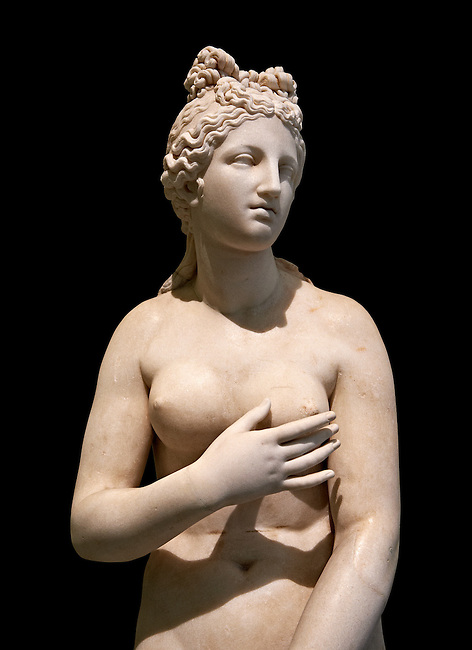 2nd century AD Roman marble sculpture of Aphrodite (Venus), 'Dresden Capitoline Type, copied from a Hellanistic Greek original,  inv 6238, Museum of Archaeology, Italy