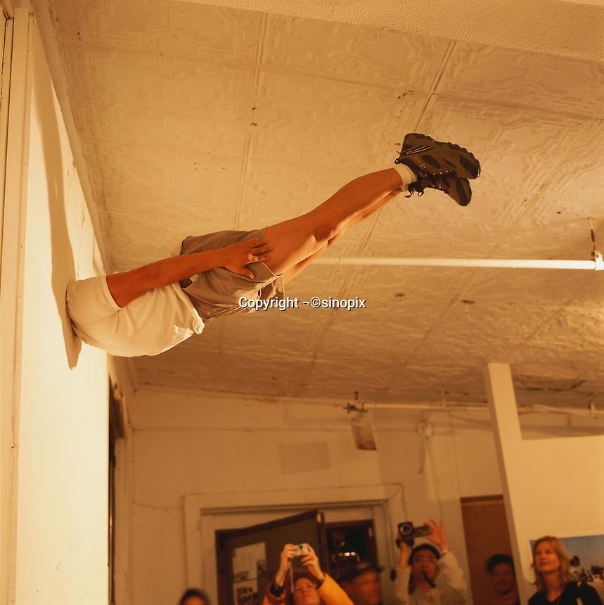 "Li Wei artwork named ""Li Wei falls to New York"" in New York...PHOTO BY SINOPIX"